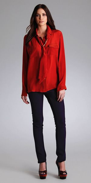 Red button down Perfect for a pop of color Hale Bob 2014
