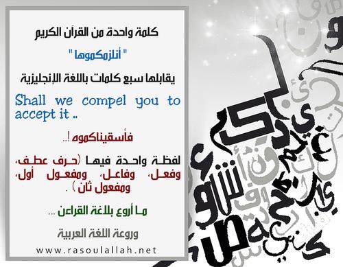 كلمة واحدة من القرآن الكريم أنلزمكموها يقابلها سبع كلمات باللغة الإنجليزية 160 Shall We Compel You To Ac Pretty Words English Language Learning Words