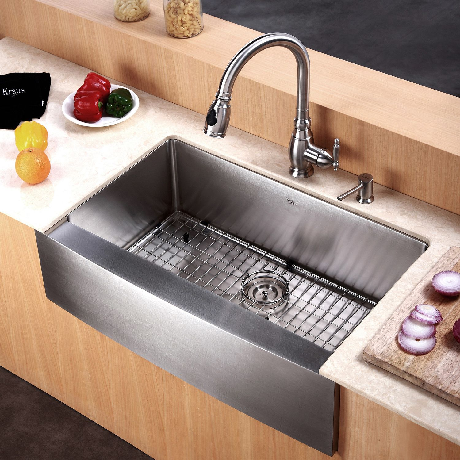 30 L X 21 W Farmhouse Kitchen Sink With Basket Strainer With