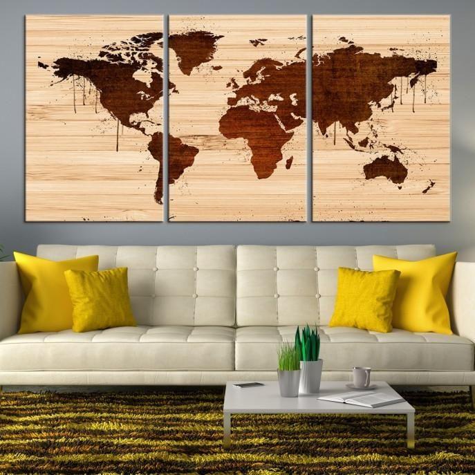 25078 - Large Wall Art World Map Canvas Print - Extra Large World ...