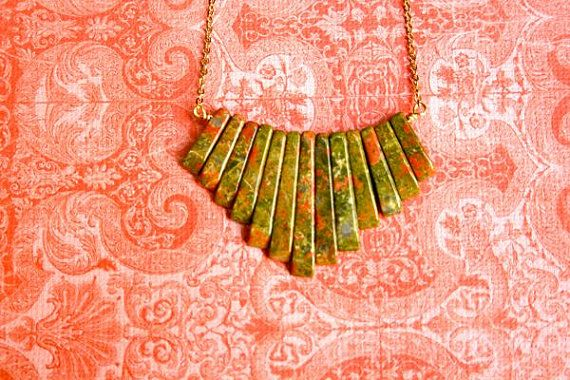 Unakite fan necklace by bluebegonia on Etsy, $40.00