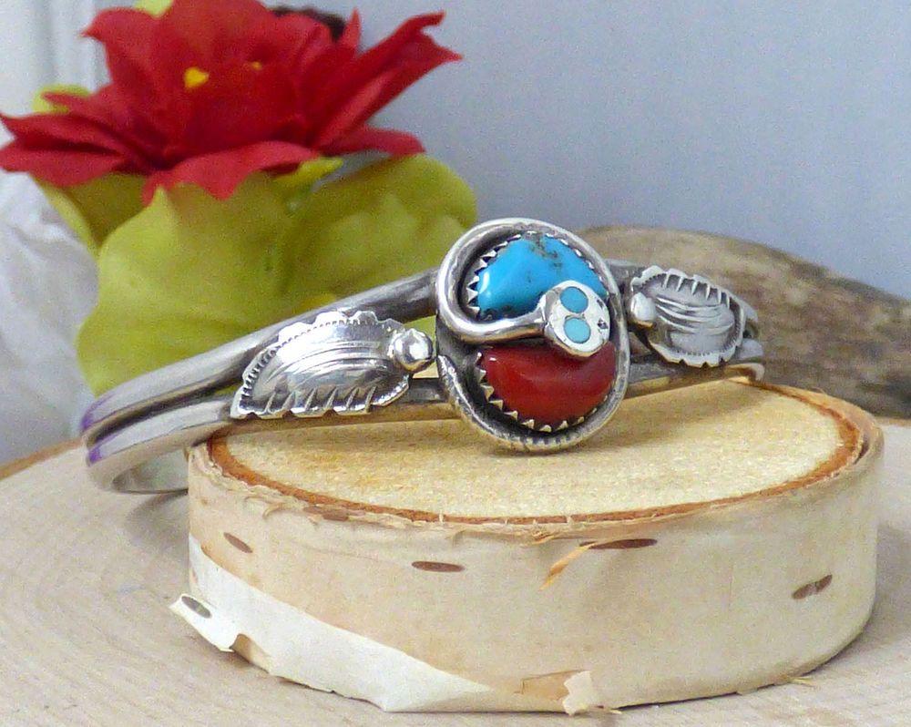 Effie Calavaza Zuni Sterling Silver, Turquoise, & Coral Cuff Bracelet!! #EffieCalavaza