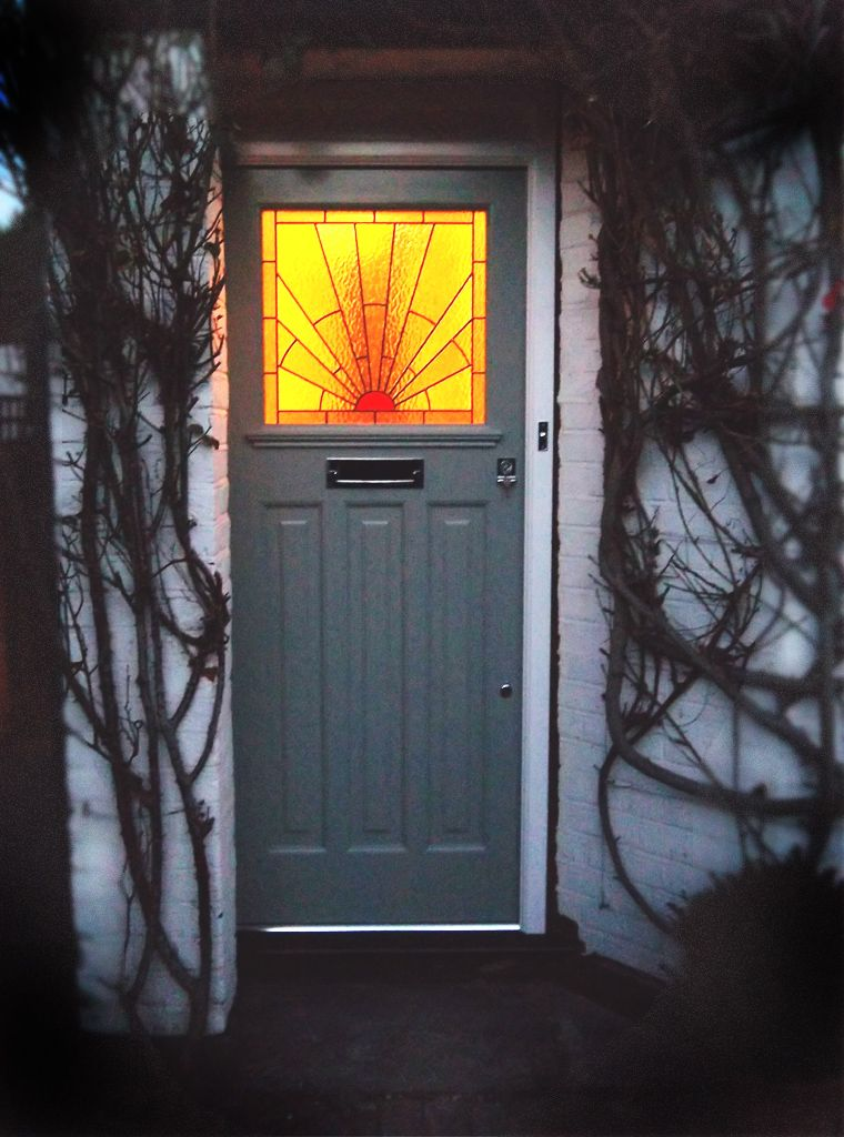 1930s Door With Sunburst Pattern Stained Glass Door Traditional Front Doors House Front Door
