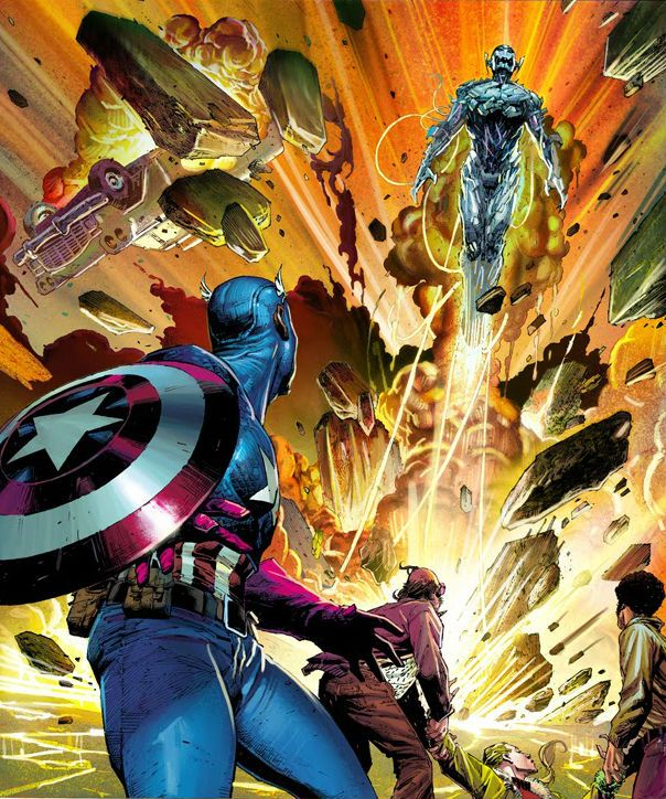 Captain América vs Ultron by Jerome Opeña
