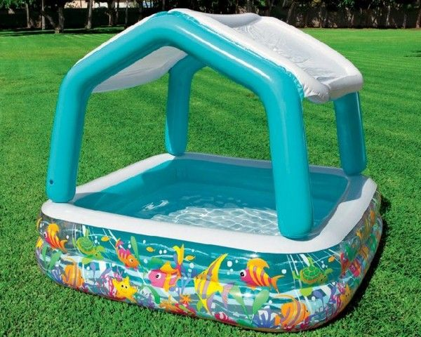 wading pool with roof on the grass