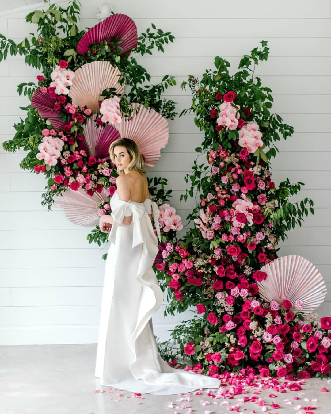 Hey Girl Do You Think Is This Enough Flowers For A Modern Japanese Inspired Crazy Extra Af C Wedding Decorations Wedding Ceremony Decorations Floral Backdrop