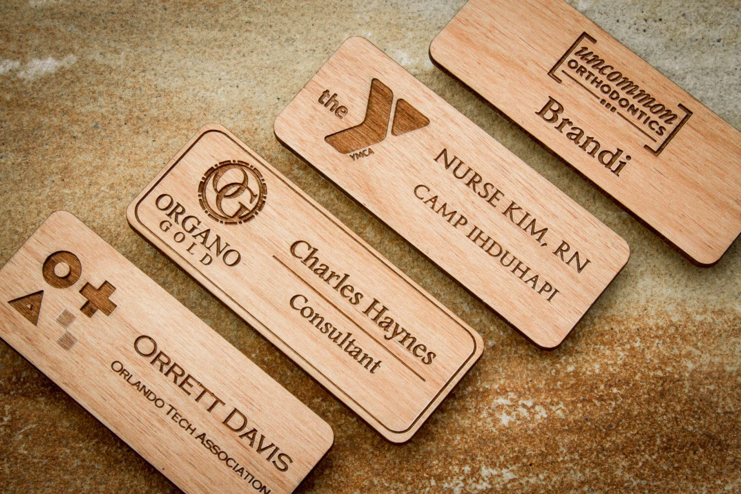 Custom Engraved Wood Name Badge Personalized Magnetic