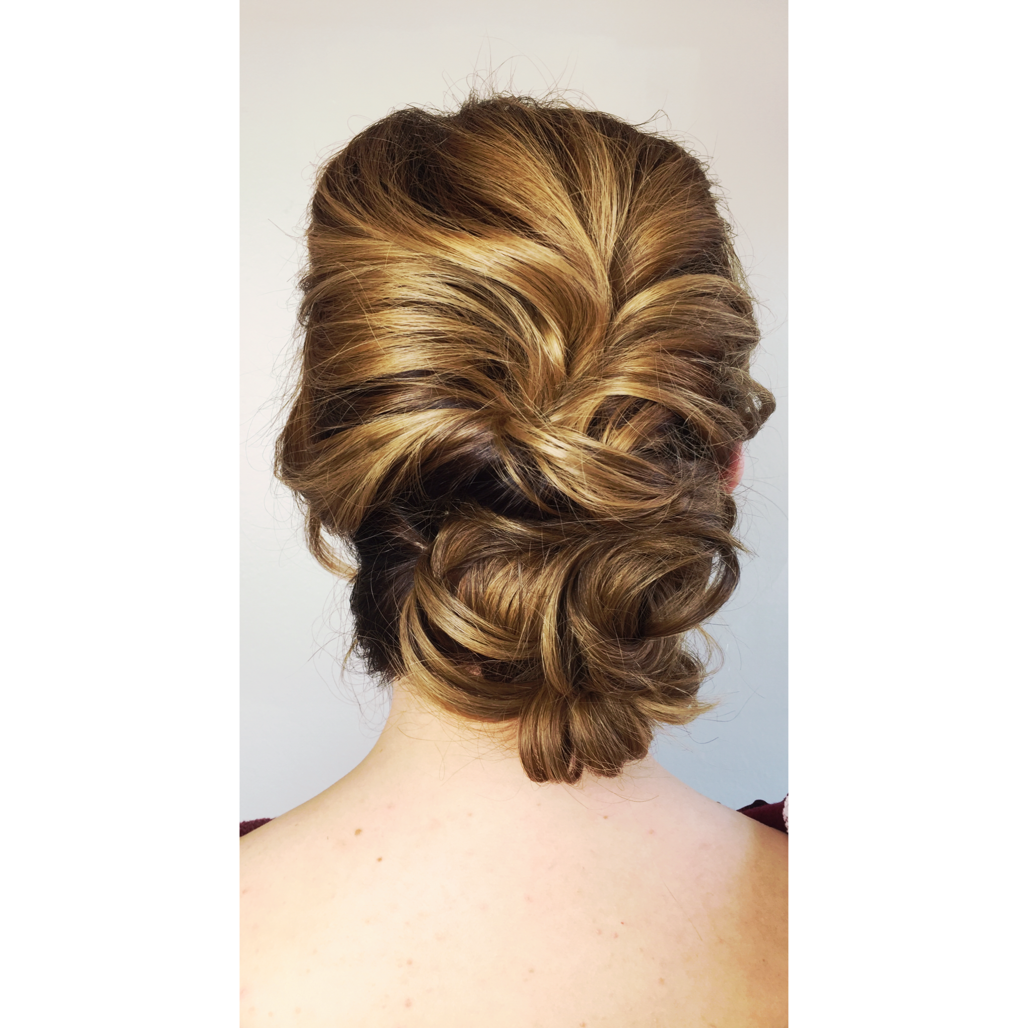 28f75b88fe83 Dimensional upstyling look showcasing balayage highlights color hair color  and updo. Bridal up style bridesmaids bridesmaid bride wedding hair Spring  Summer ...