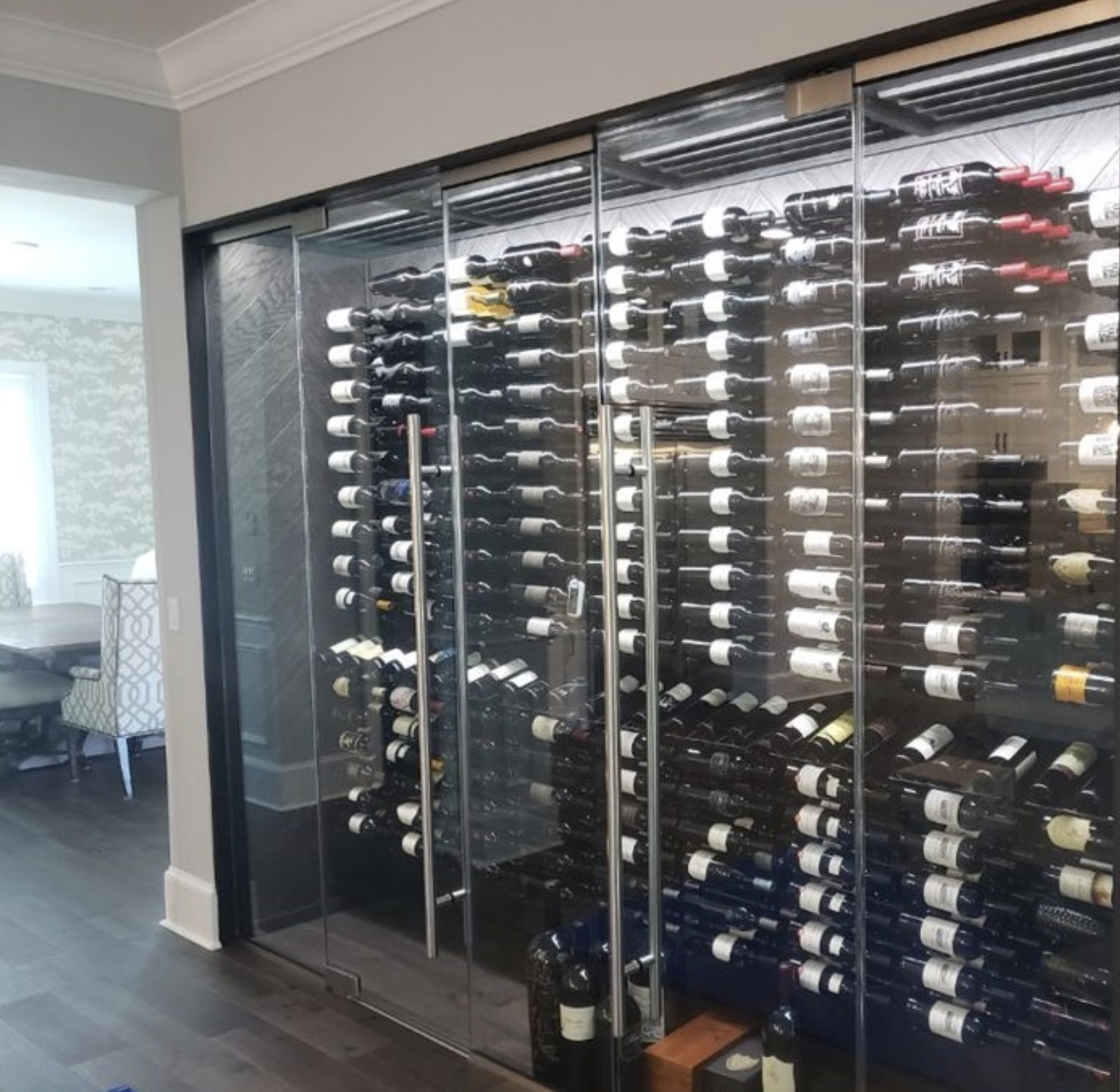 The job was very easy to grasp. Glass Enclosed Vintageview Cellar In Tampa Fl Wall Mounted Wine Rack Modern Wine Rack Wine Rack Design