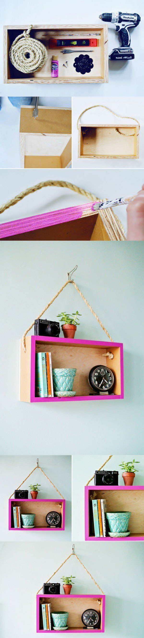 DIY Upcycled Wooden Box Into Hanging Shelf DoItYourself Ideas We are want to