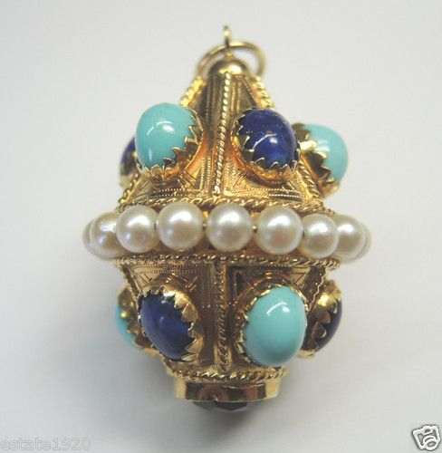 "ANTIQUE DIAMOND ENAMEL BOBBLE CHARM  CIRCA ~ 1930's   6 PERSIAN TURQUOISE ~ OVAL CABOCHON  SIZE ~ 7.61 MM (0.2995"") x 5.67 MM (0.223"")  6 LAPIS ~ OVAL CABOCHON  7.61 MM (0.2995"") x 5.67 MM (0.223"")  20 CULTURED PEARLS ~ 4.23 MM (0.1665"")  1 AMETHYST ~ 10 MM  METAL ~ 18KY SOLID GOLD (Stamped 750)  WEIGHT ~ 25.9 MM"