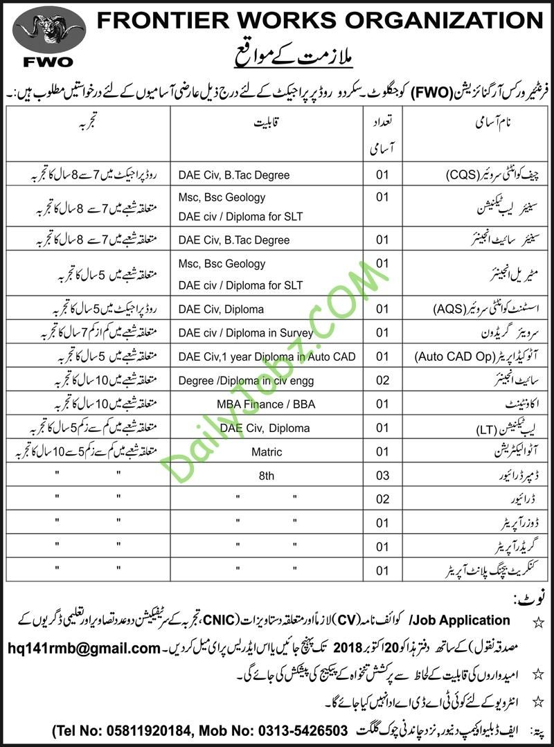 Frontier Works Organization FWO 2018 Latest Jobs Of Site Engineer