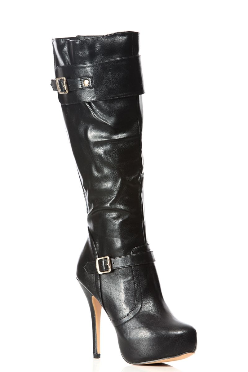 c55043ab69e Black Faux Leather Knee High Platform Boots   Cicihot Boots Catalog women s  winter boots