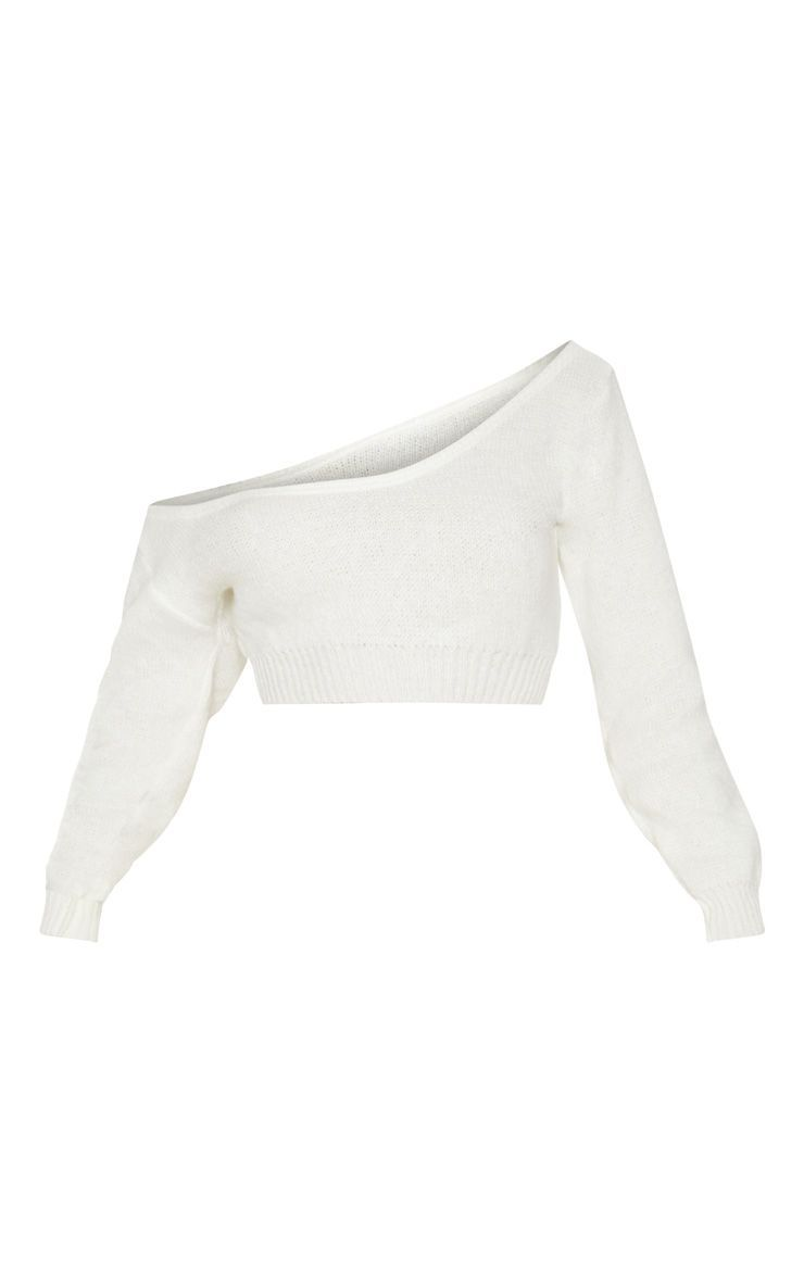 Cream V Neck Off Shoulder Knitted Cropped Sweater