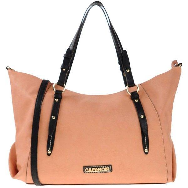 Cafènoir Handbag ($61) ❤ liked on Polyvore featuring bags, handbags, salmon pink, pink purse, zip bags, hand-bag, pink handbags en zipper purse