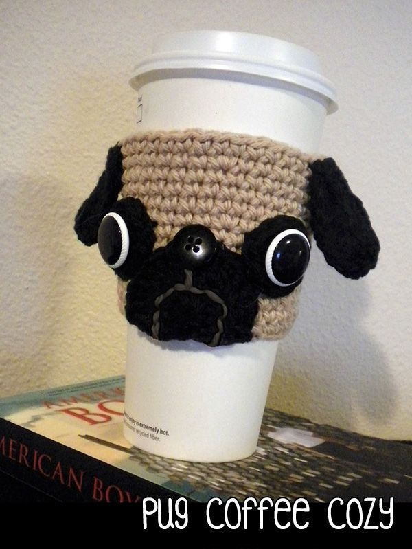 Crochet Pug Coffee Cozy | Crochet & Knitting | Pinterest | Coffee ...