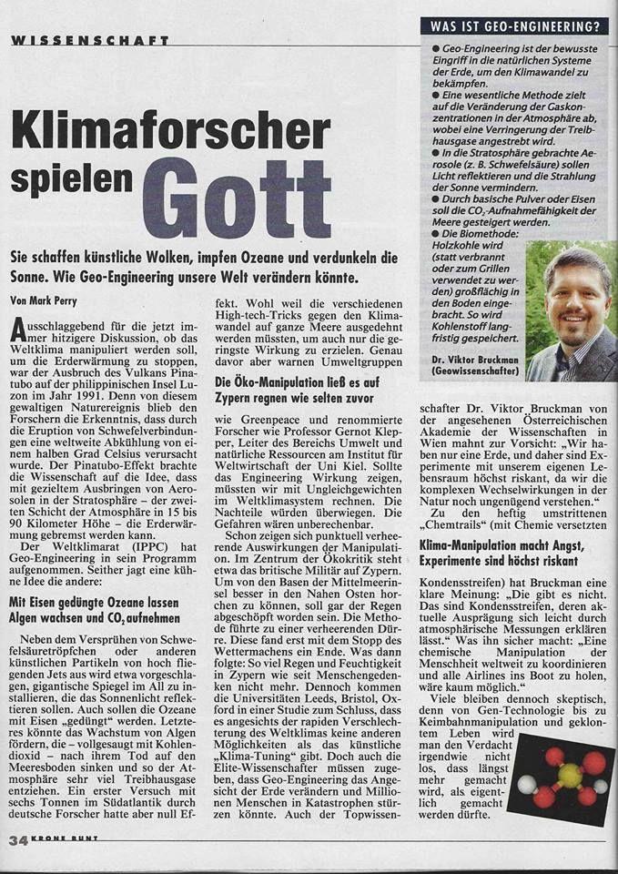 Klimaforscher Spielen Gott Kronen Zeitung 31 05 2015 Seite 34