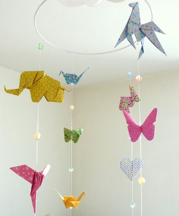 mobile b b origami animaux 16 origamis et perles facettes by mademoiselle origami www. Black Bedroom Furniture Sets. Home Design Ideas