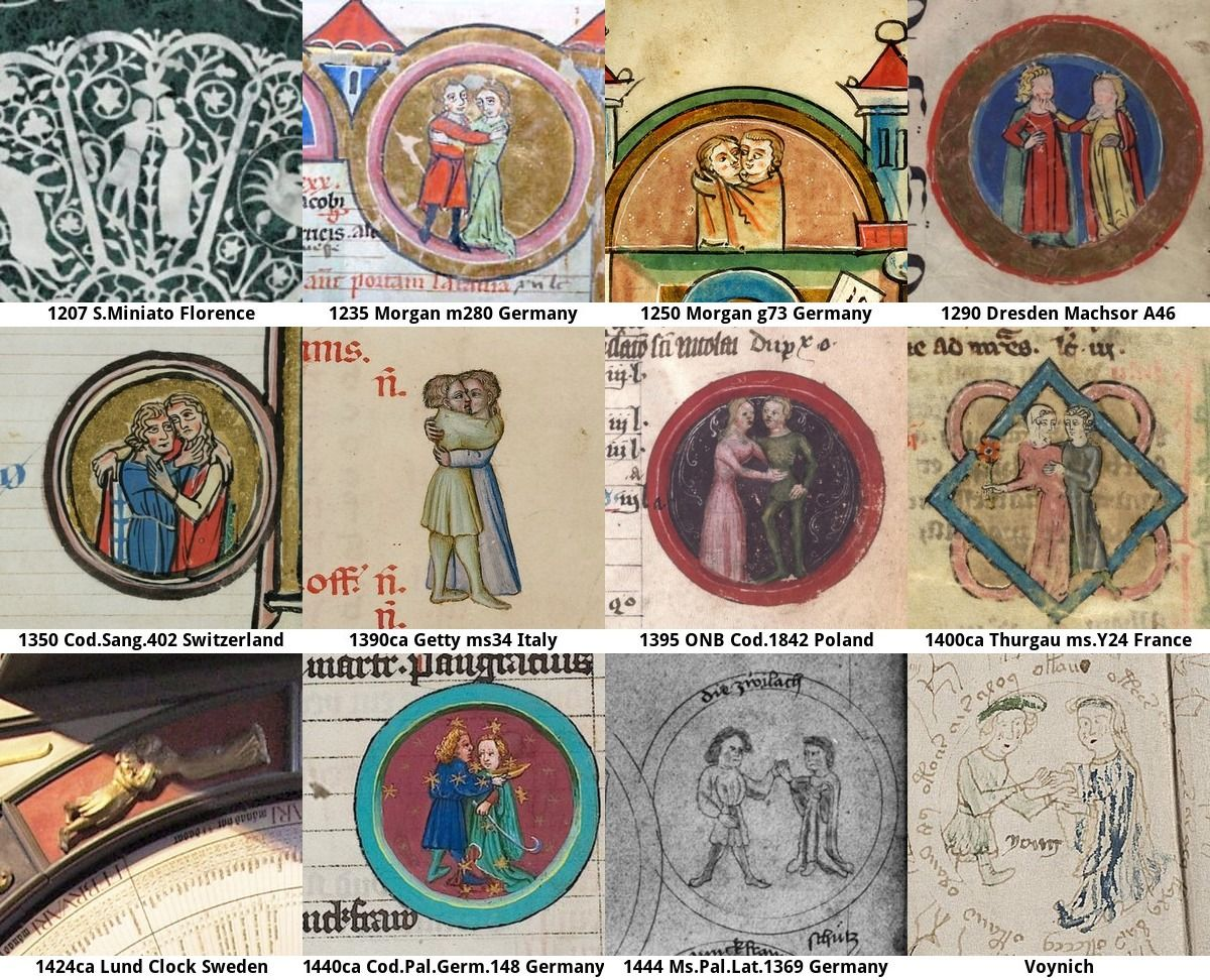 Astrology: Gemini zodiac sign as Lovers. Comparison of different medieval images with the Voynich manuscript.  https://stephenbax.net/?p=1755