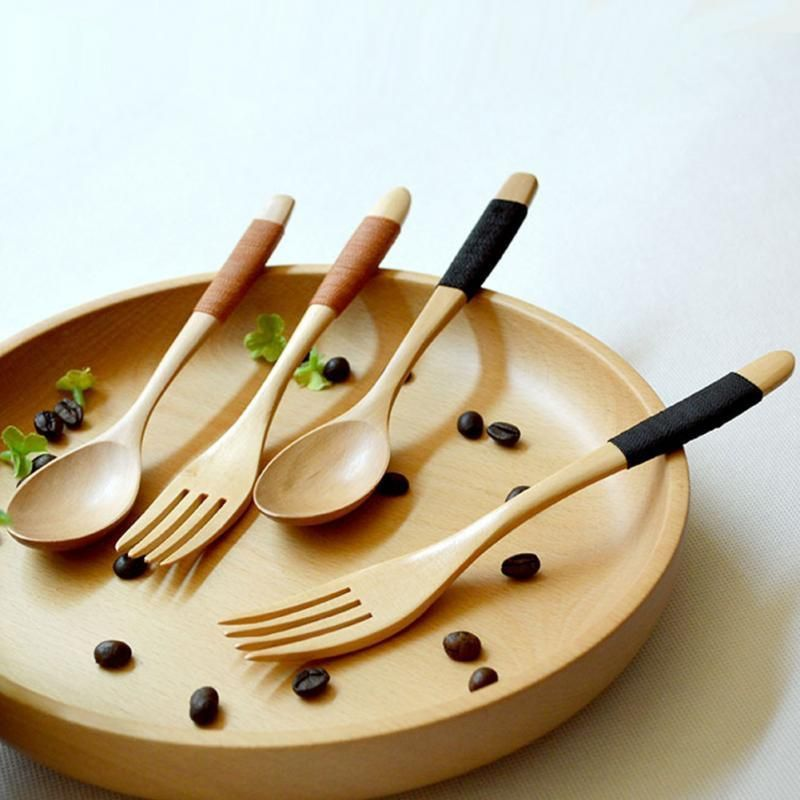 Hot Sale Eco Friendly Wooden Log Coffee Spoon Fork , Kitchen Supplies