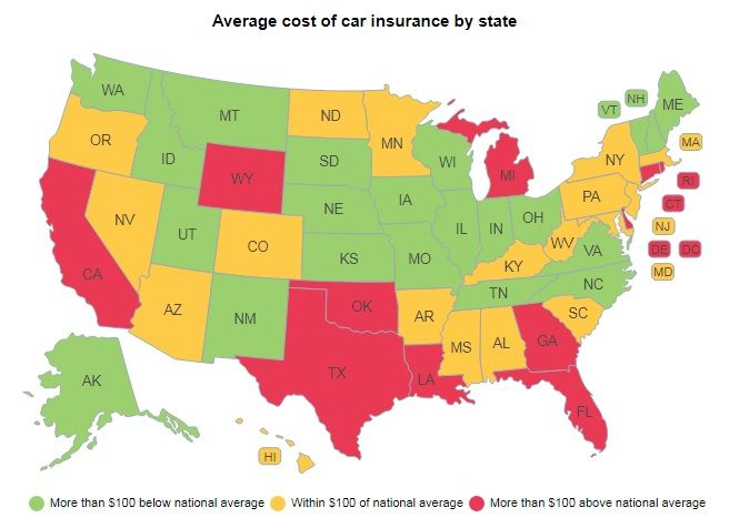 Michigan Has The Most Expensive Car Insurance Maine The Cheapest