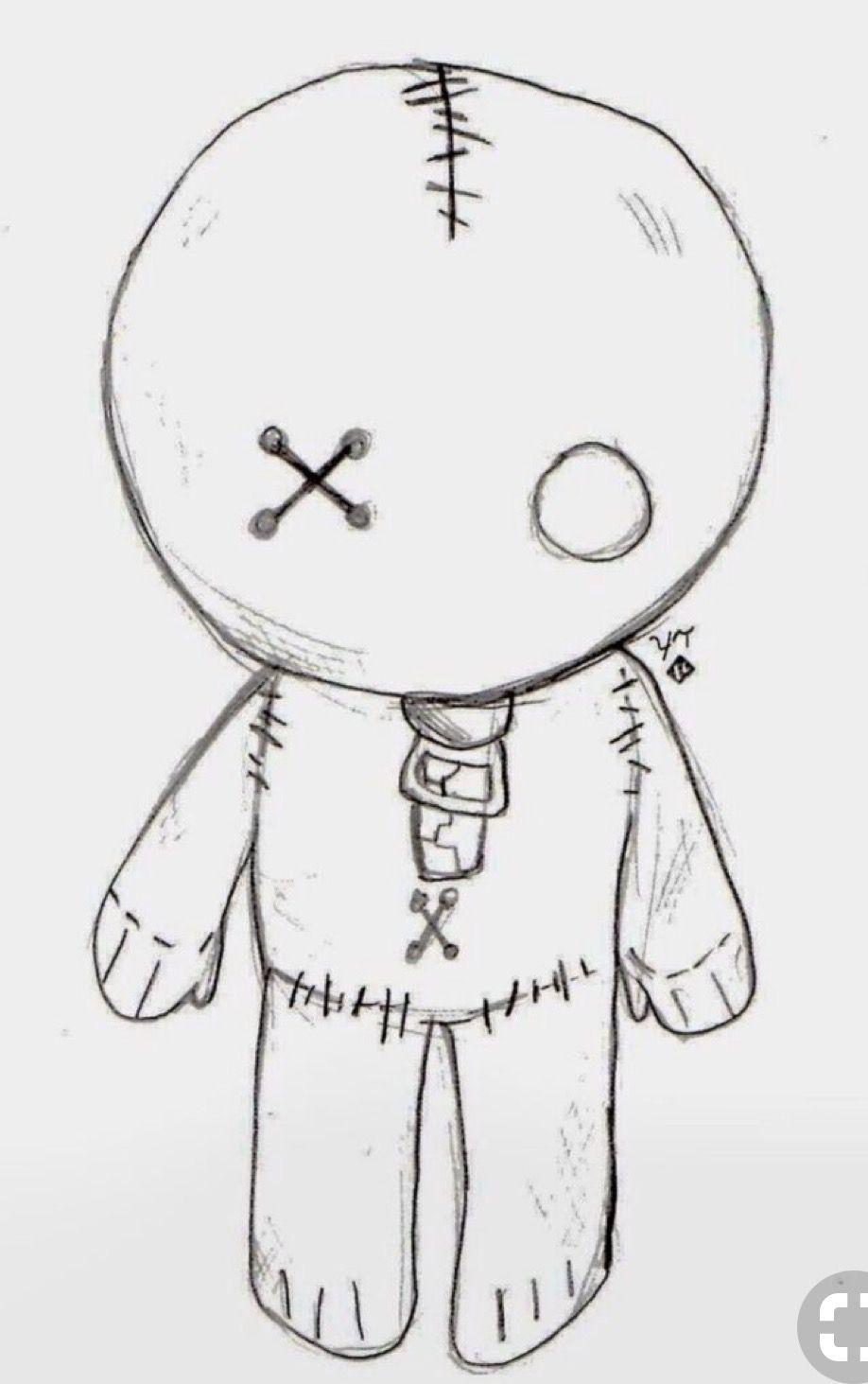 Voodoo Doll Painted Rock Idea Halloween Cute Easy Drawings Cool Easy Drawings Scary Drawings