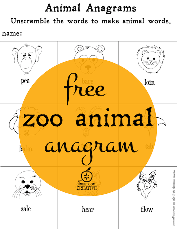 zoo anagram freebie for your zoo animal units summer crafts activities ideas for kids. Black Bedroom Furniture Sets. Home Design Ideas