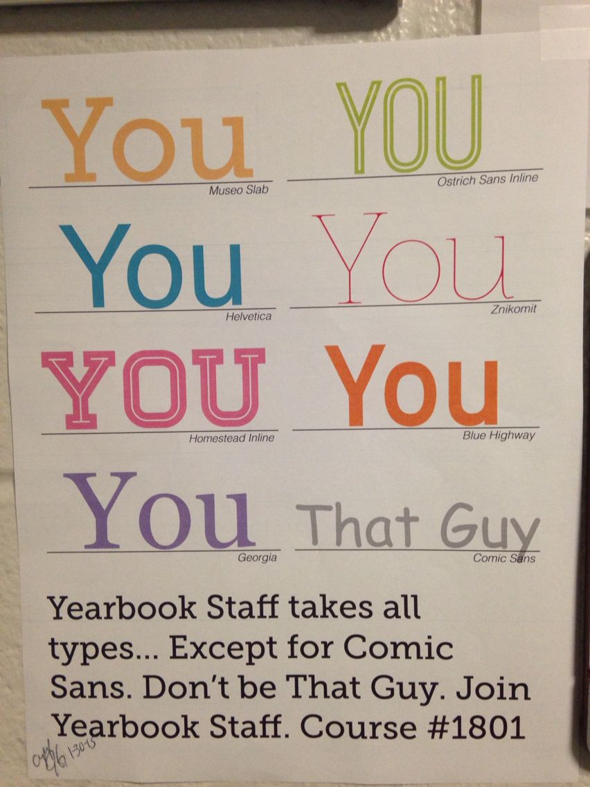 Another nerdy recruitment poster we made. Teaching yearbook