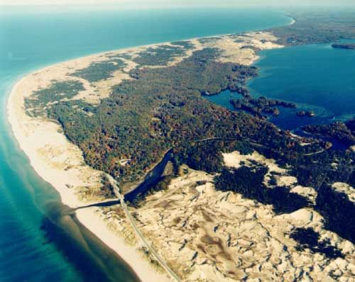 arial view of ludington state park in michigan sand dunes. Black Bedroom Furniture Sets. Home Design Ideas