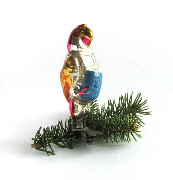 parrot karudo soviet christmas tree decoration bird glass - Bird Christmas Tree Decorations