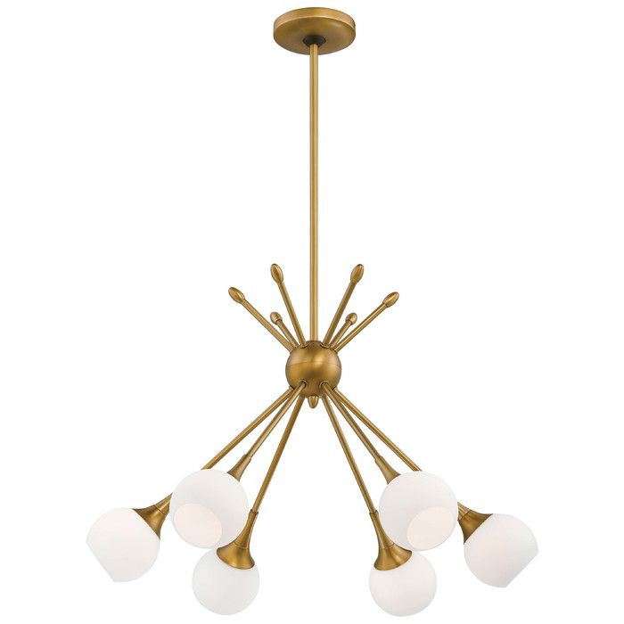 Pontil from george kovacs features a sleek and streamlined design that draws design inspiration from mid century modern appeal in this chandelier an orb