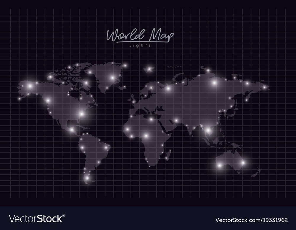 world map lights in black mesh silhouette