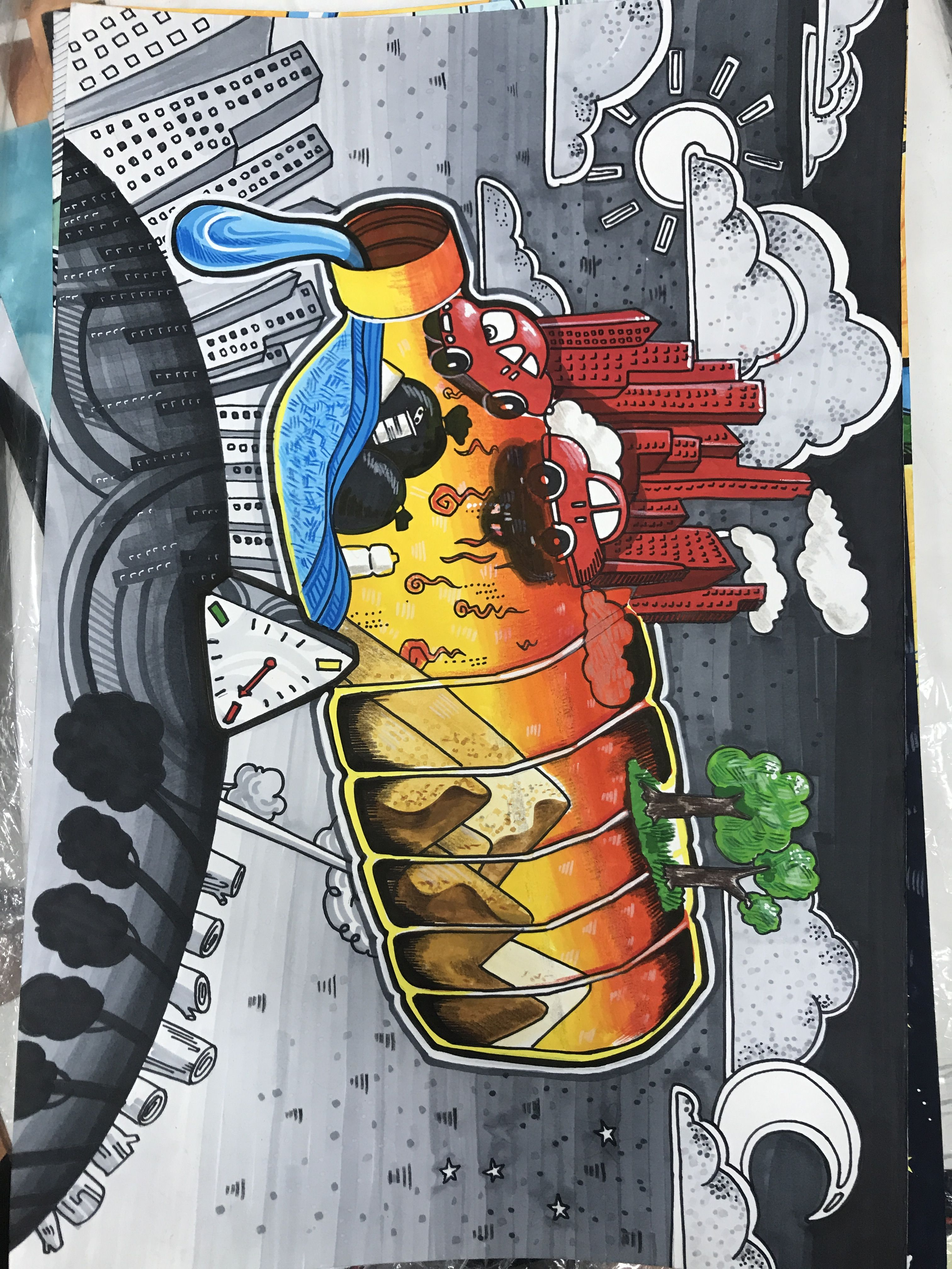 Pin By Raisahmatina On Seni Environmental Art Environment Painting Save Water Poster Drawing