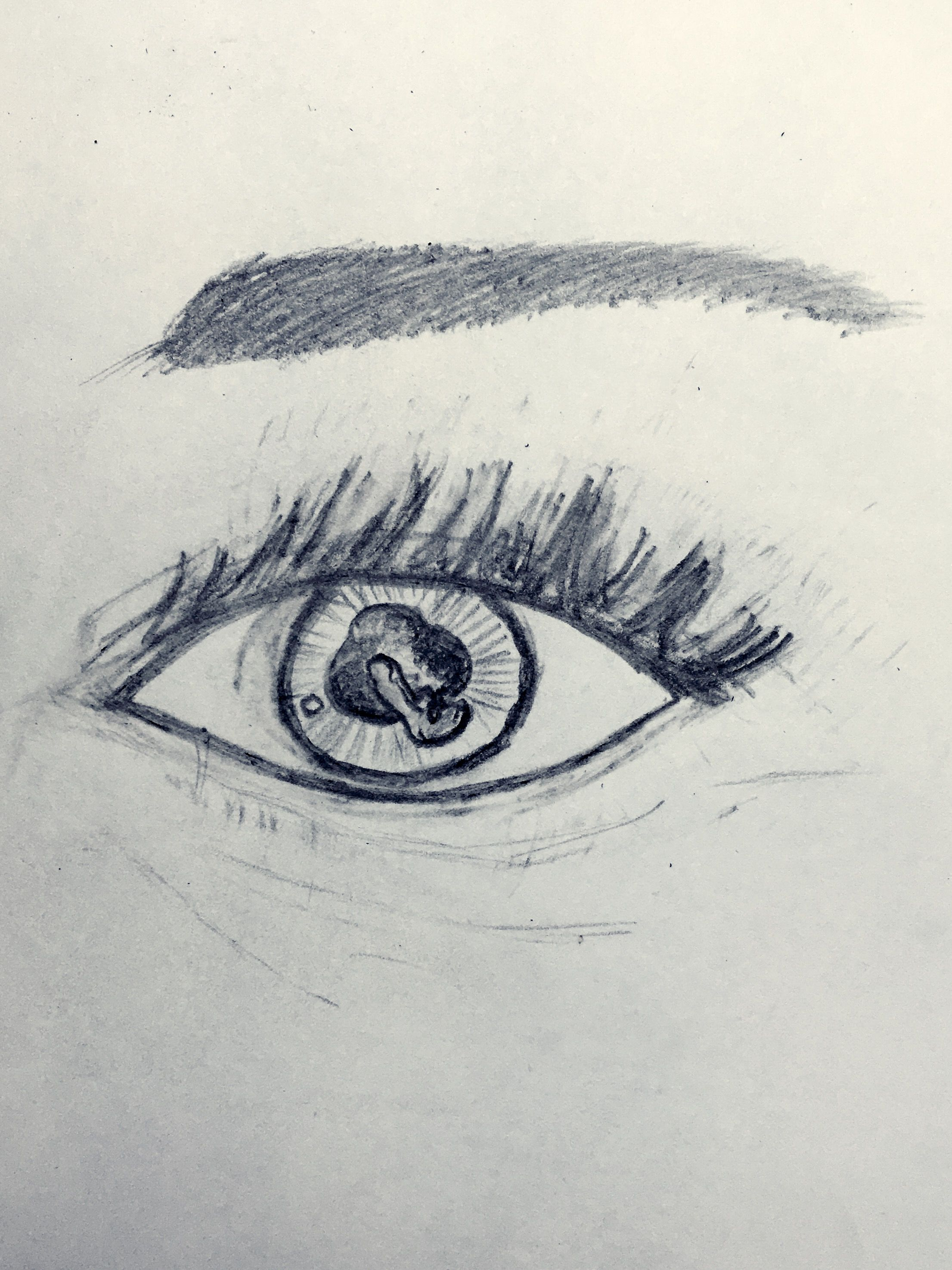 A fun morning practicing drawing eyes, only had an eraser and two pencils for this. The truth is in the eye of the beholder.