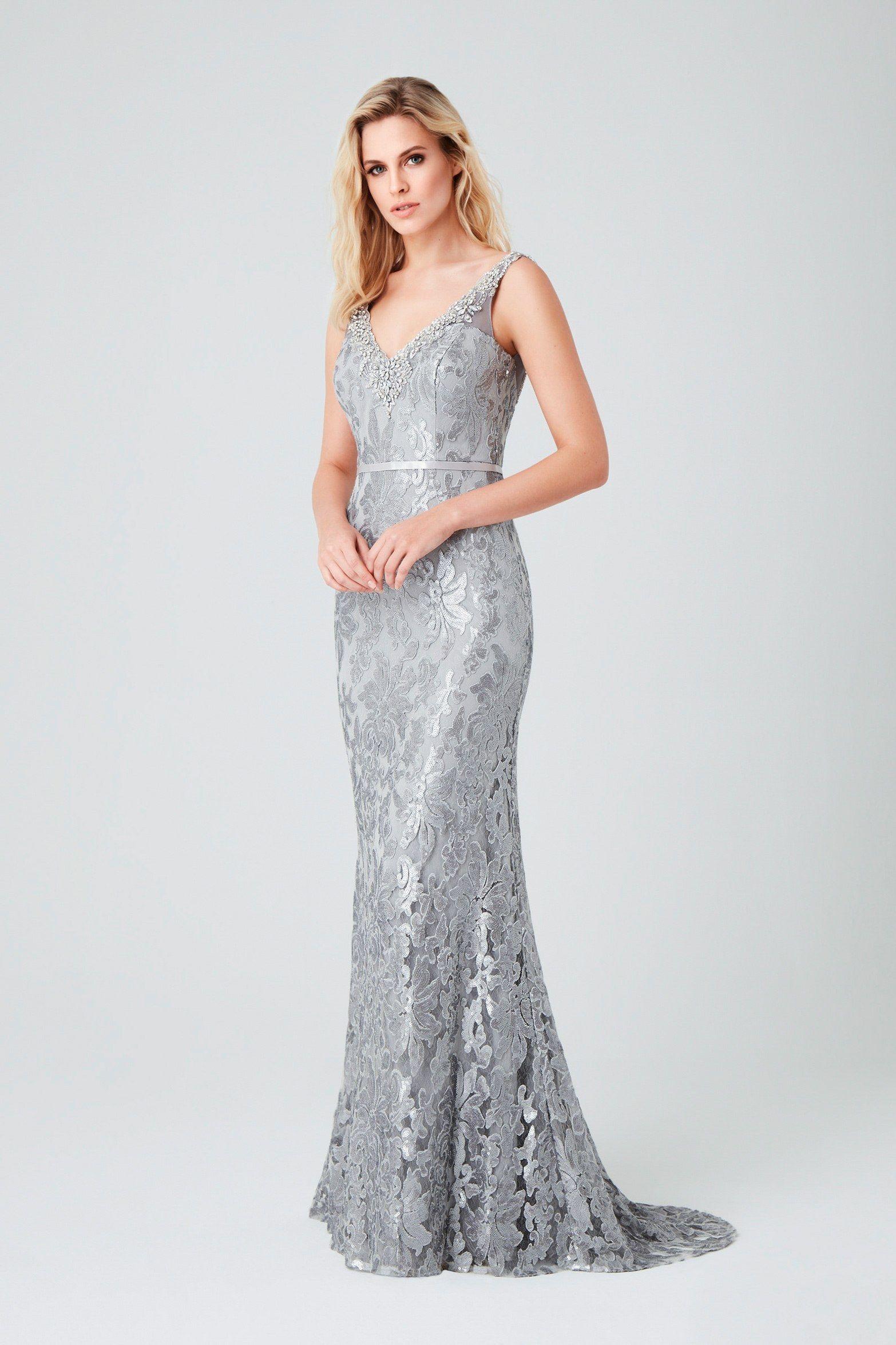 65e09693890 Gri Askılı Payetli Uzun Abiye Elbise Abiye Modelleri 2019 Koleksiyonunu  Keşfedin - Oleg Cassini