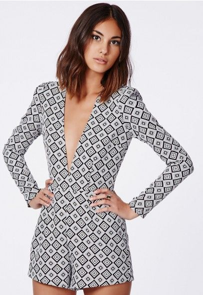 a412067a21bc Missguided Chardonnay Premium Plunge Belted Playsuit in geometric   Monochrome print.