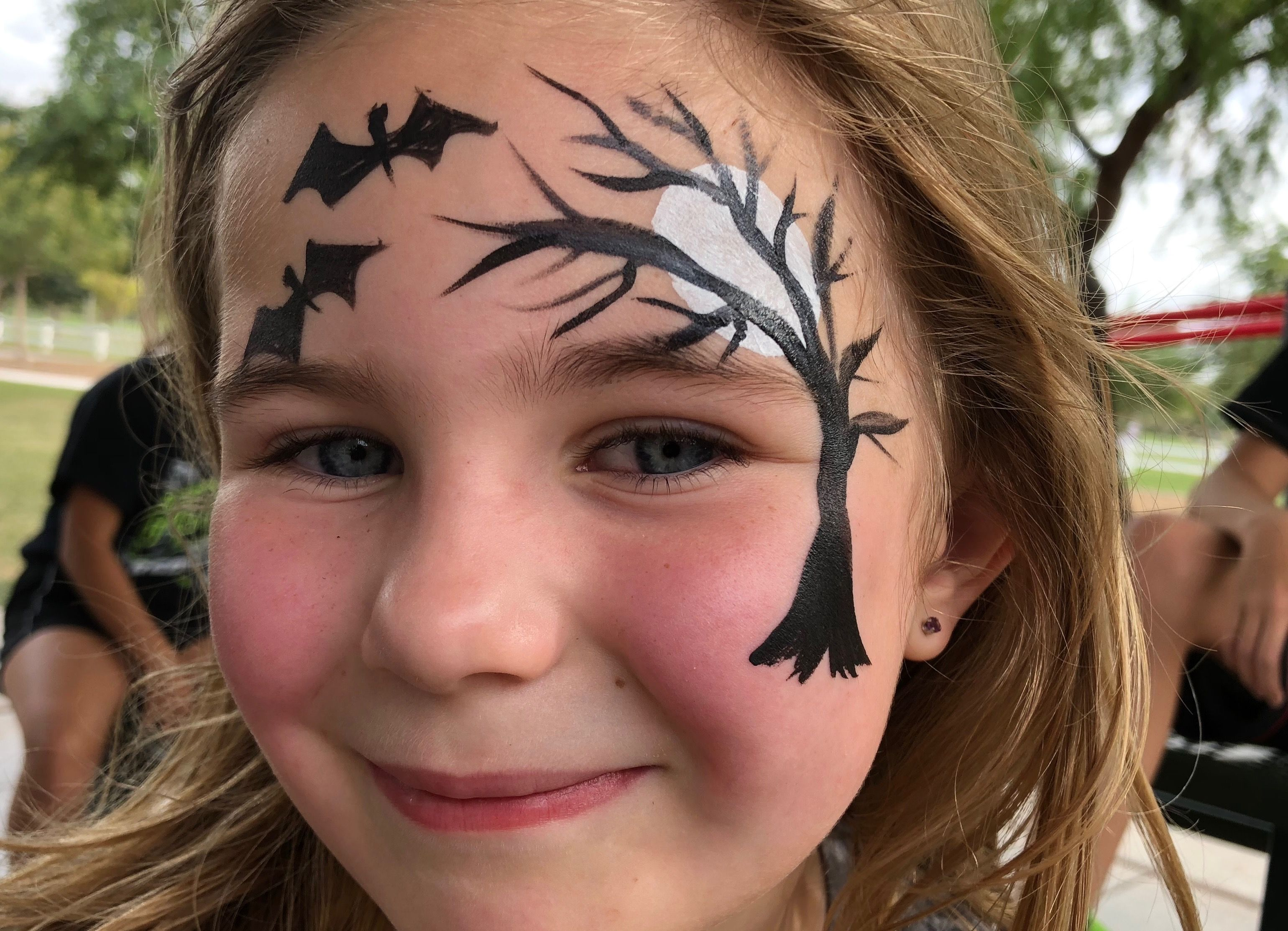 Halloween Face Painting Moon And Creepy Tree Face Paint By Gina