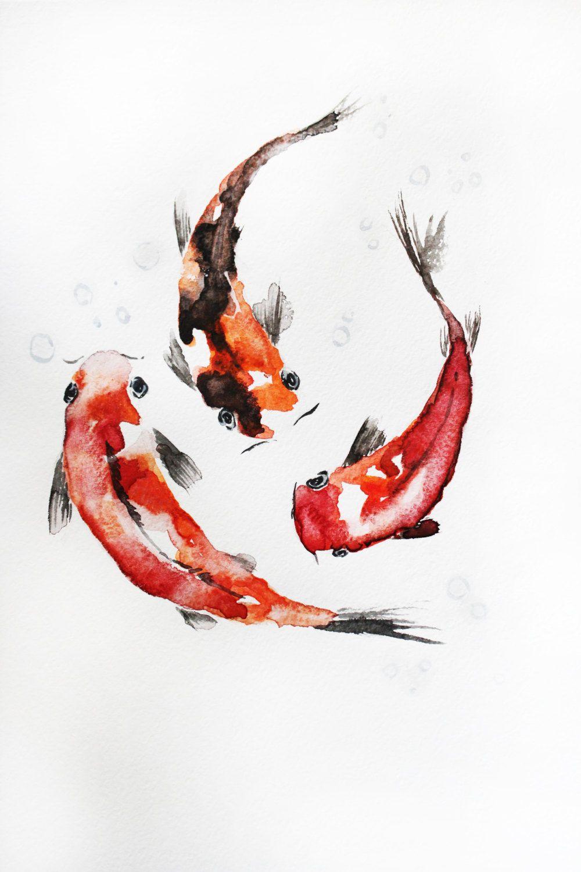 Original watercolor painting gold fish watercolor koi for Koi fish art