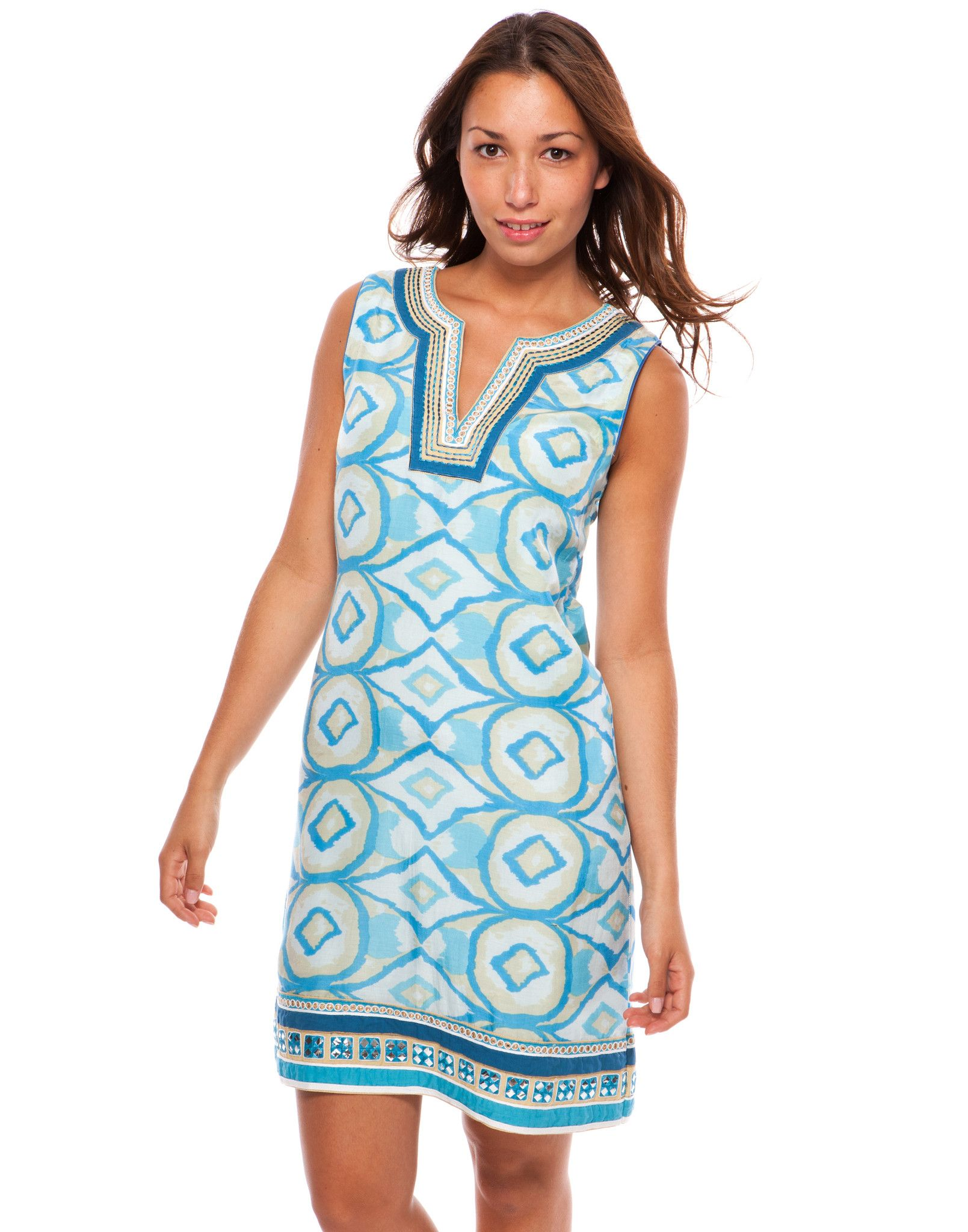 Sleeveless, blue graphic print dress with hand beading. | Party ...