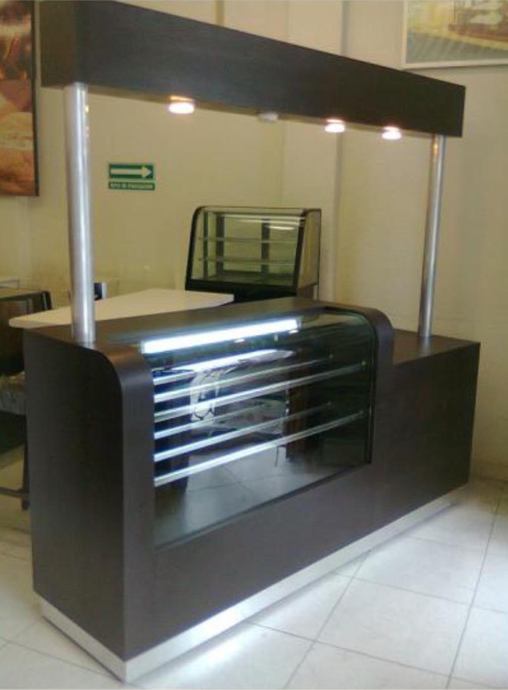 Mostrador con vidrio curvo cafeter a for Mobiliario para cafes