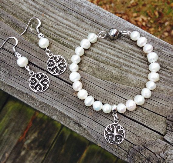 Memory Wire Bracelet and Earring Set with Freshwater Pearls on Etsy, $35.00