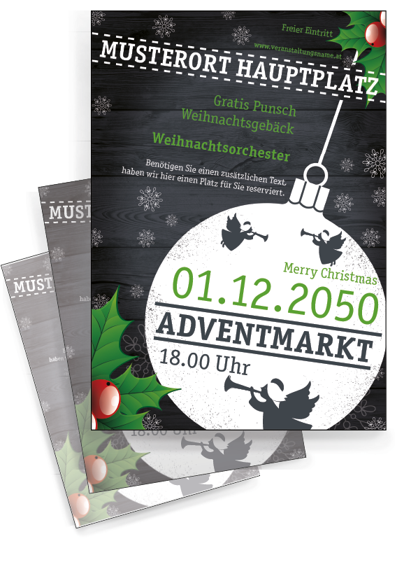 Gratis Editierbare Vorlagen Finden Sie Online Bei Onlineprintxxl Zweig Weihnachten Advent Kugel Winter Merry Xmas Flyer Vorlage Weihnachten Flyer