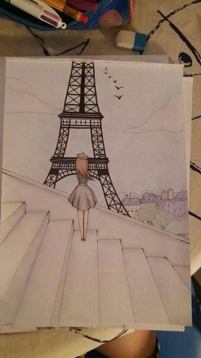 Girl Standing On Stairs Looking At The Eiffel Tower Cute Simple Drawings Coloured Pencils Drawing In 2020 Cool Drawings Girly Drawings Girl Drawing Sketches