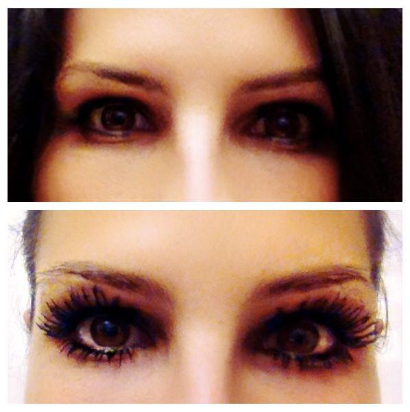 No mascara in the top picture, Younique Moodstruck 3D Fiber Lashes ...