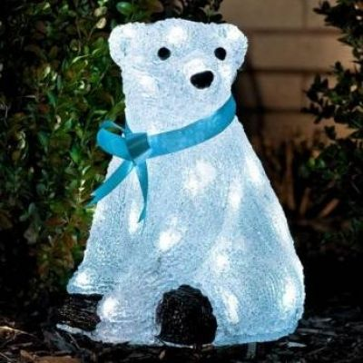 konstsmide acrylic 28cm polar bear with 40 white led lights