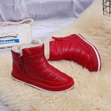 732d179f85fd M.GENERAL Waterproof Warm Pure Colour Fur Lining Short Snow Boots For Women