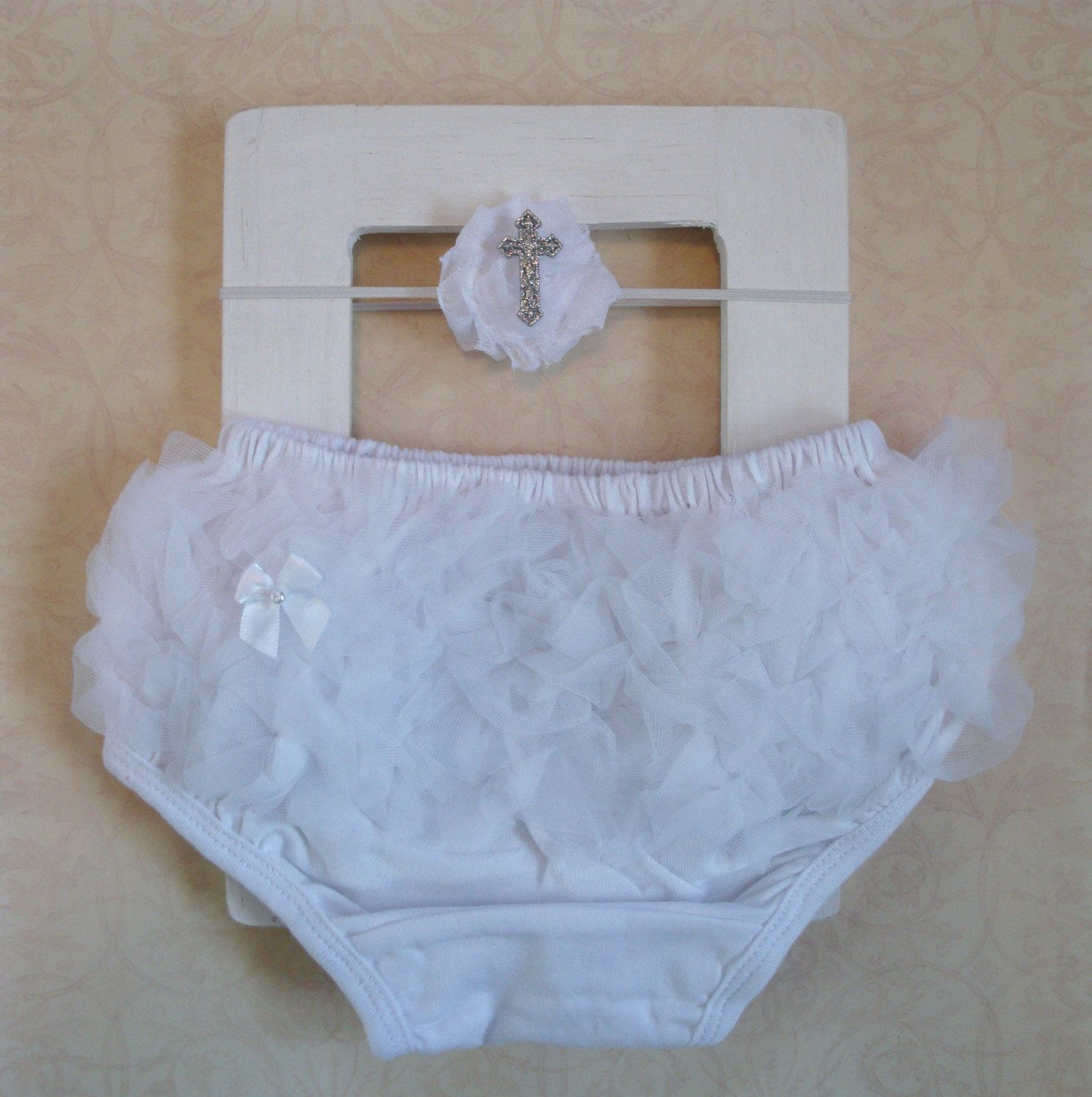 White Baby Baptism Diaper Cover Amp Matching Cross By