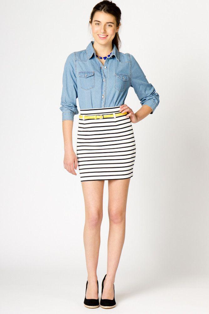 Skinny Stripe Skirt