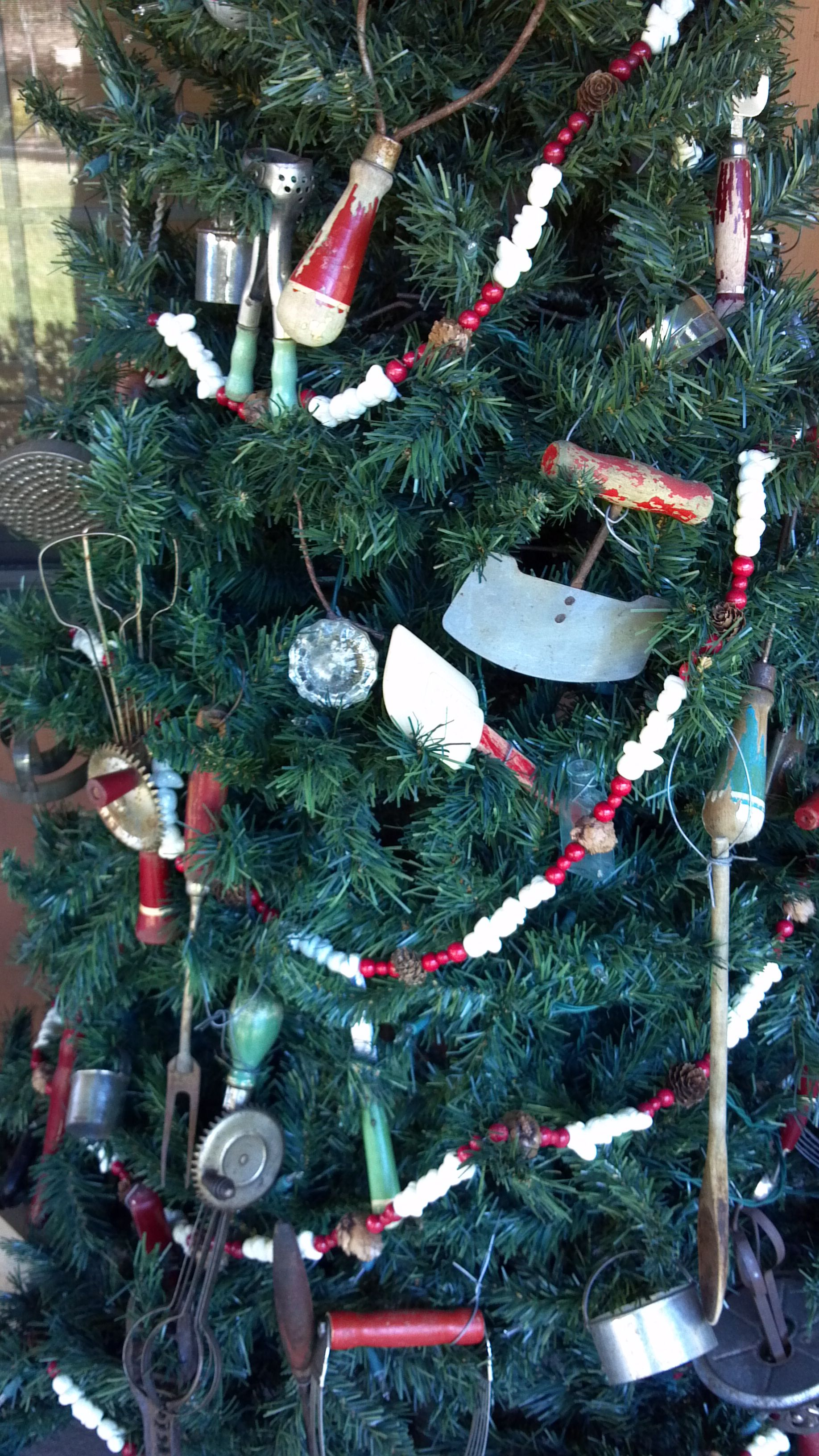 Red & green handled & antique kitchen tools Christmas tree. These ...