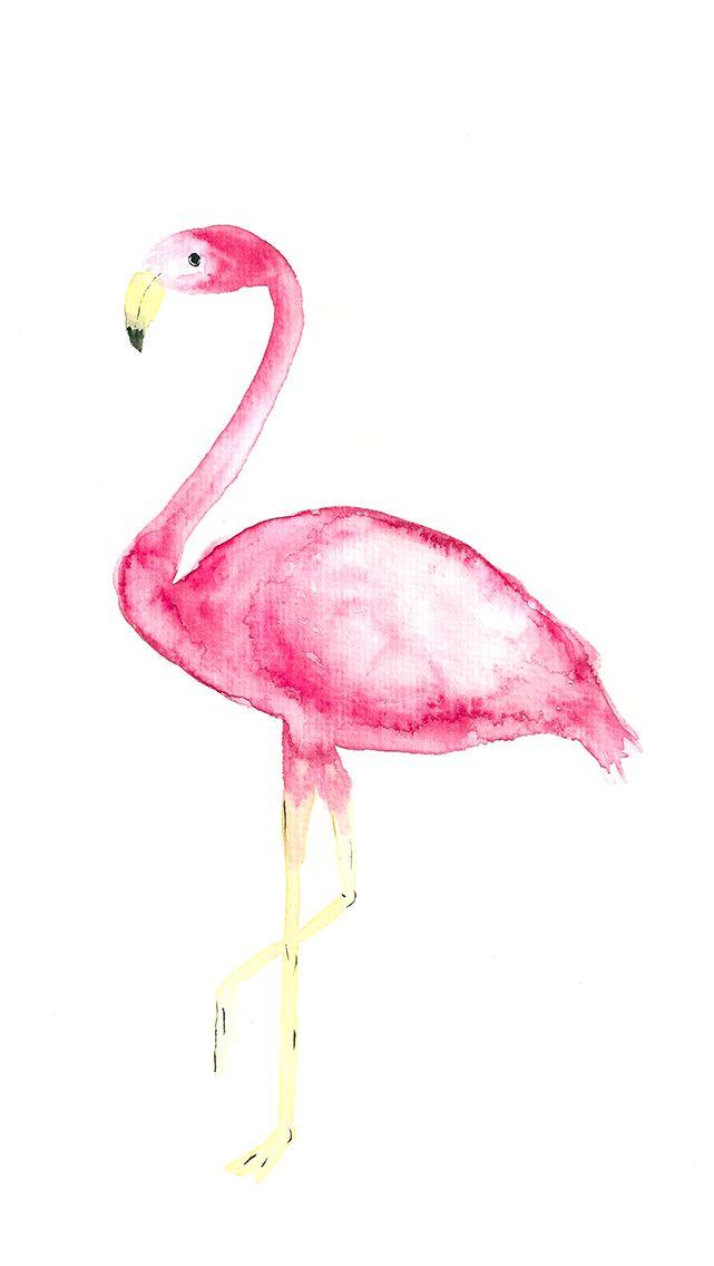 DIY Watercolor Flamingo Printable And Wallpaper   Holt Euch Euer Gratis  Flamingo Printable Für Eure Wohnung